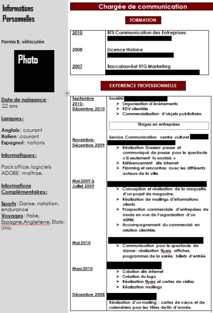 exemple de cv  u00e9tudiant   comment faire un cv pour stage ou