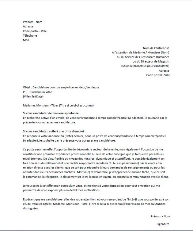 exemple lettre de motivation vendeuse job etudiant
