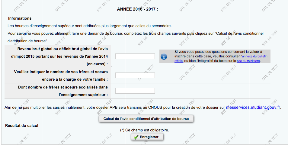 Page boursier ou non Admission Post bac