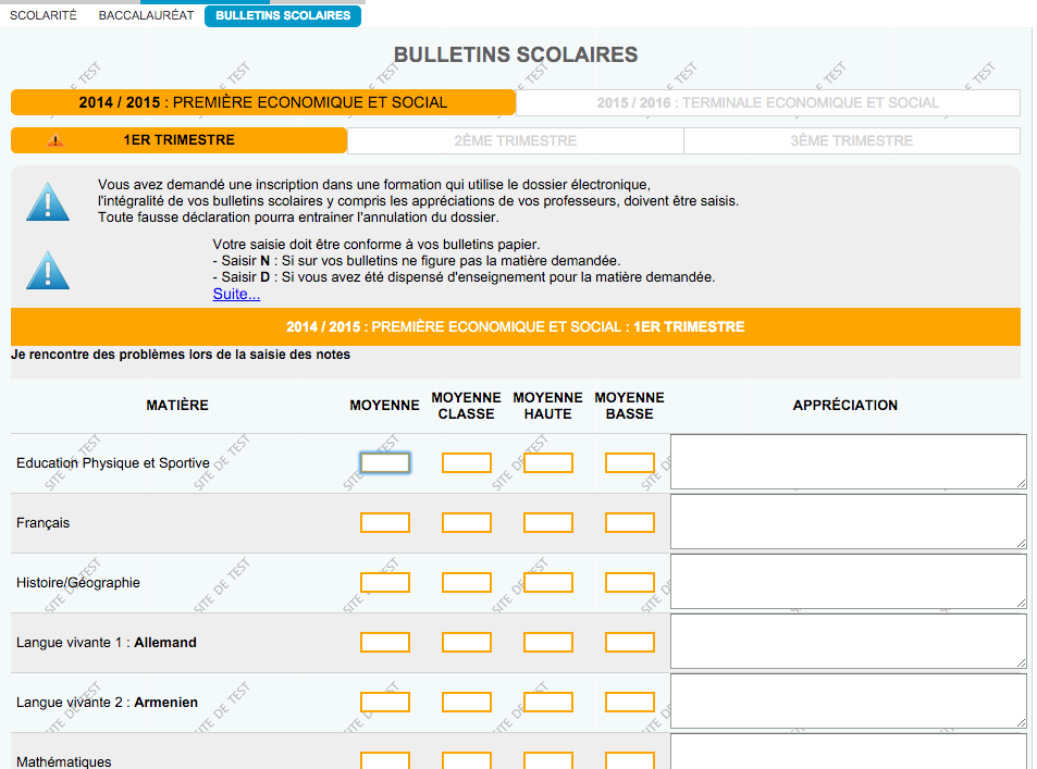Page bulletin scolaire sur Admission Post Bac