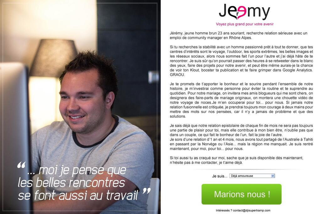 le cv original de la semaine   j u00e9r u00e9my et son cv meetic