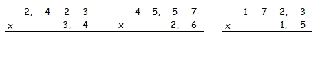 Multiplication a virgule cm2 exercices for Exercice multiplication cm2